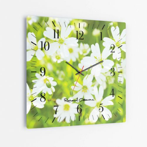 Greater Stitchwort - Square Glass Clock